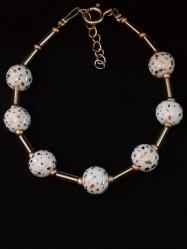 Bracelet 7Perles blanc et or