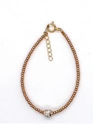 Bracelet 1Perle blanche et or