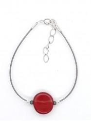 Bracelet 1Perle Rond rouge