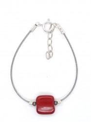 Bracelet 1Perle Carré rouge