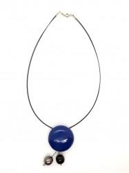 Collier 3Boules bleu