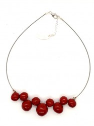 Collier Bulles rouge