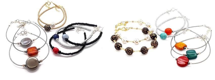 Bracelets réalisés en faïence ou en porcelaine, fait main, made in France