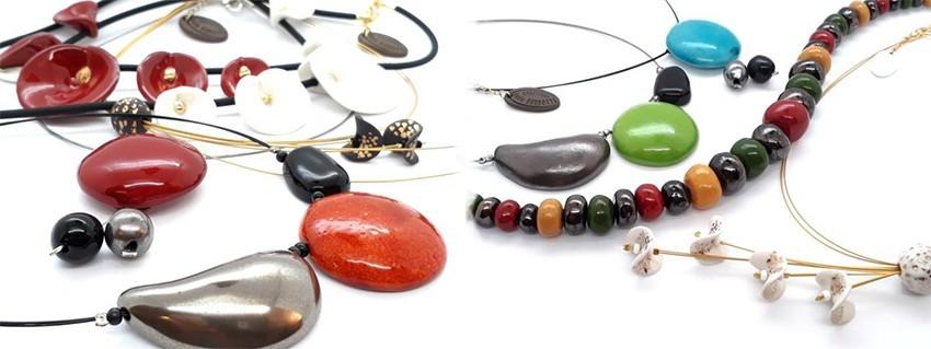 Collier céramique de créateur de bijoux céramique fait main en France