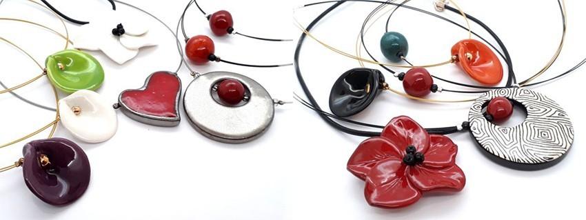 Colliers réalisés en faïence ou en porcelaine, fait main, made in France